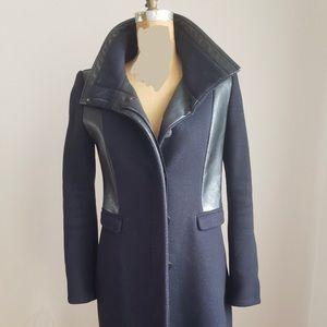 Zara Womens Navy Blue Black Wool Blend Faux Leather Trim Pea Coat Size Small